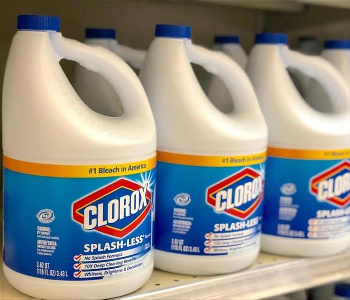 Clorox bleach on white containers on a store shelf.